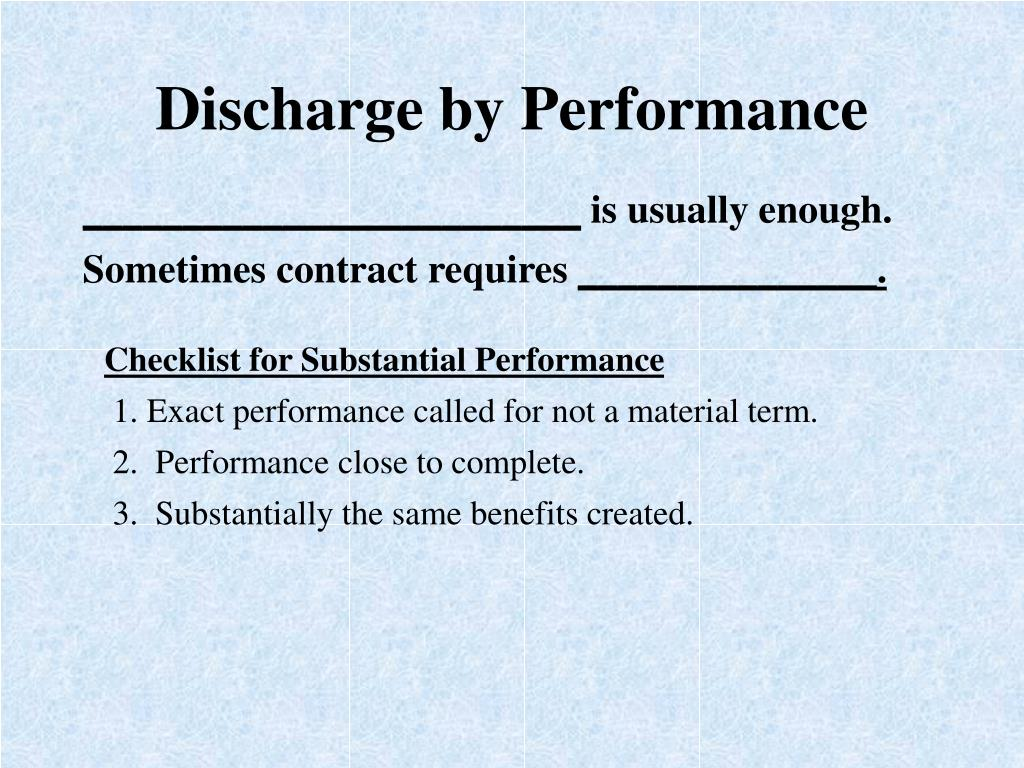 Discharge by Performance