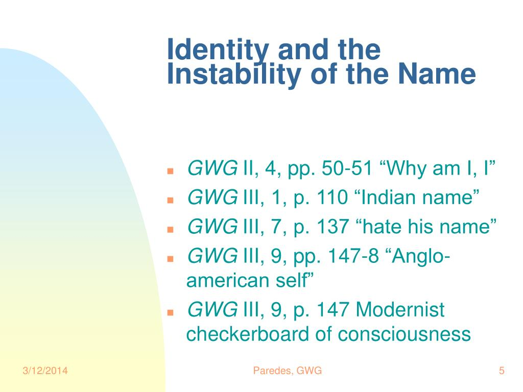 Identity and the Instability of the Name