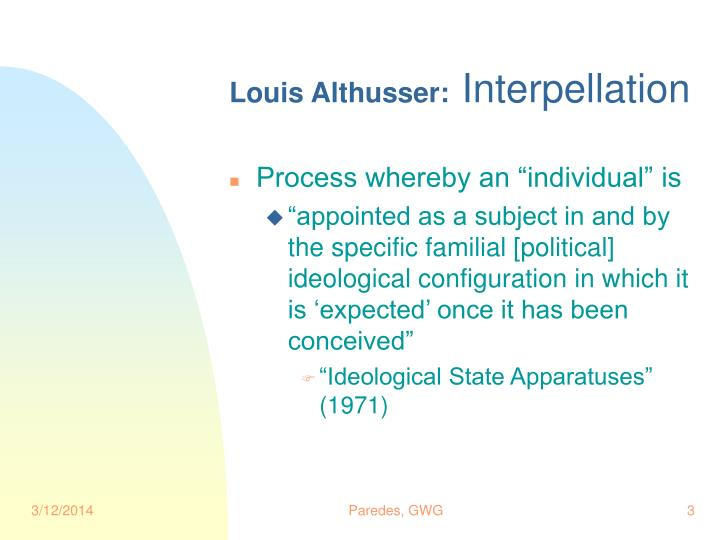 Louis althusser interpellation
