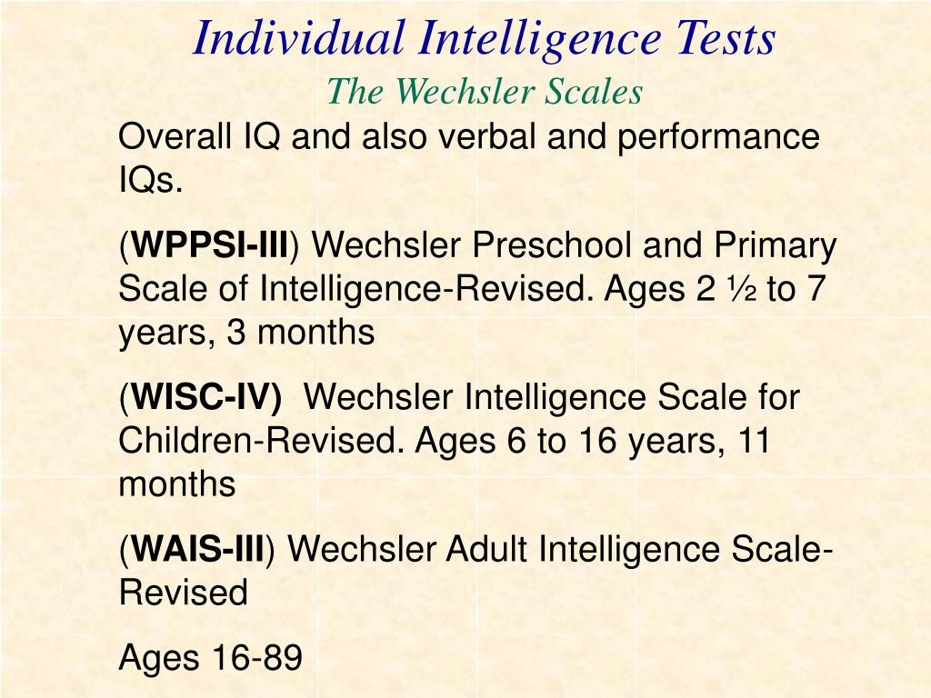 Individual Intelligence Tests