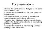 for presentations