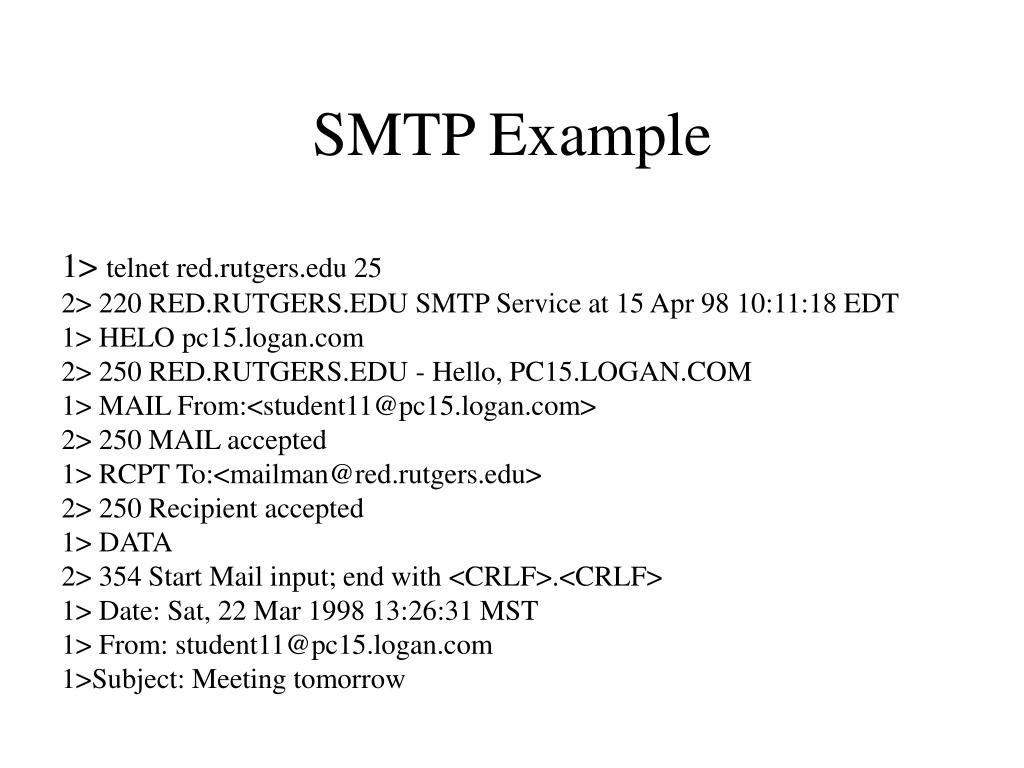 SMTP Example