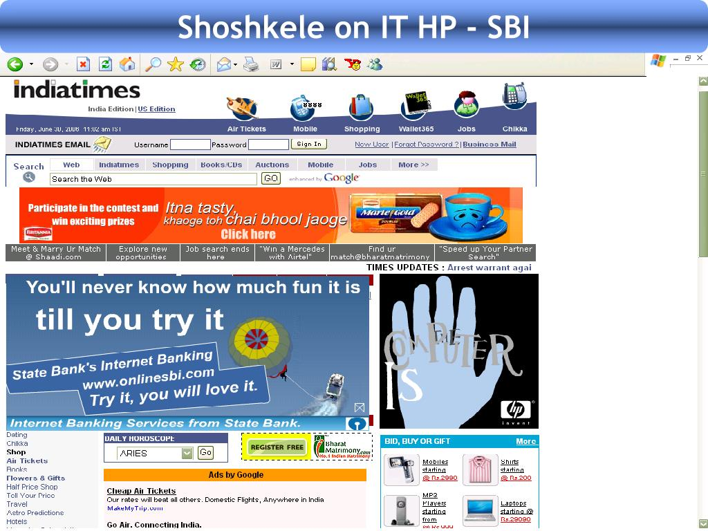 Shoshkele on IT HP - SBI