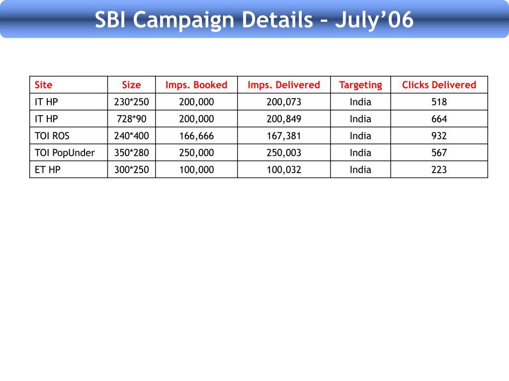 SBI Campaign Details – July'06
