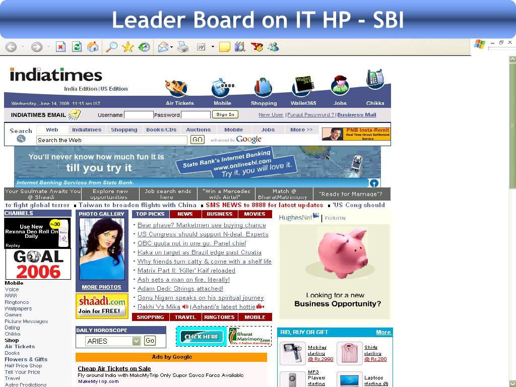 Leader Board on IT HP - SBI