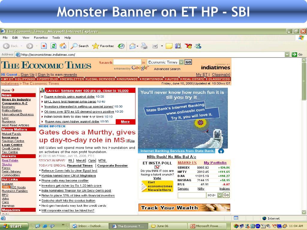 Monster Banner on ET HP - SBI