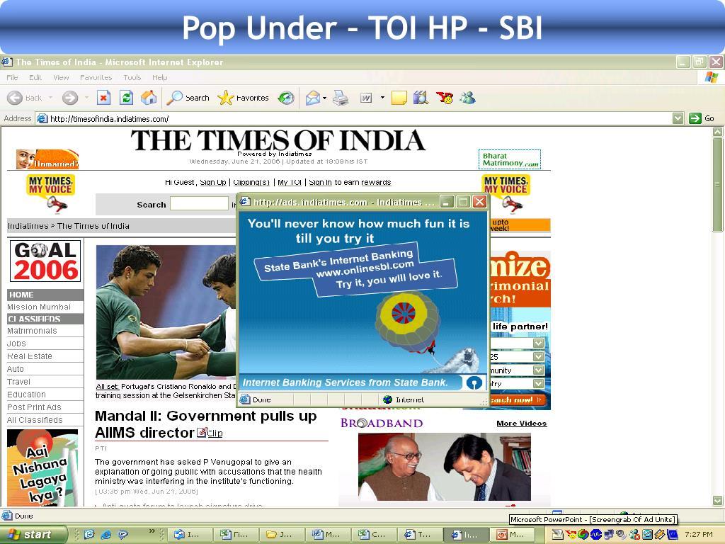 Pop Under – TOI HP - SBI