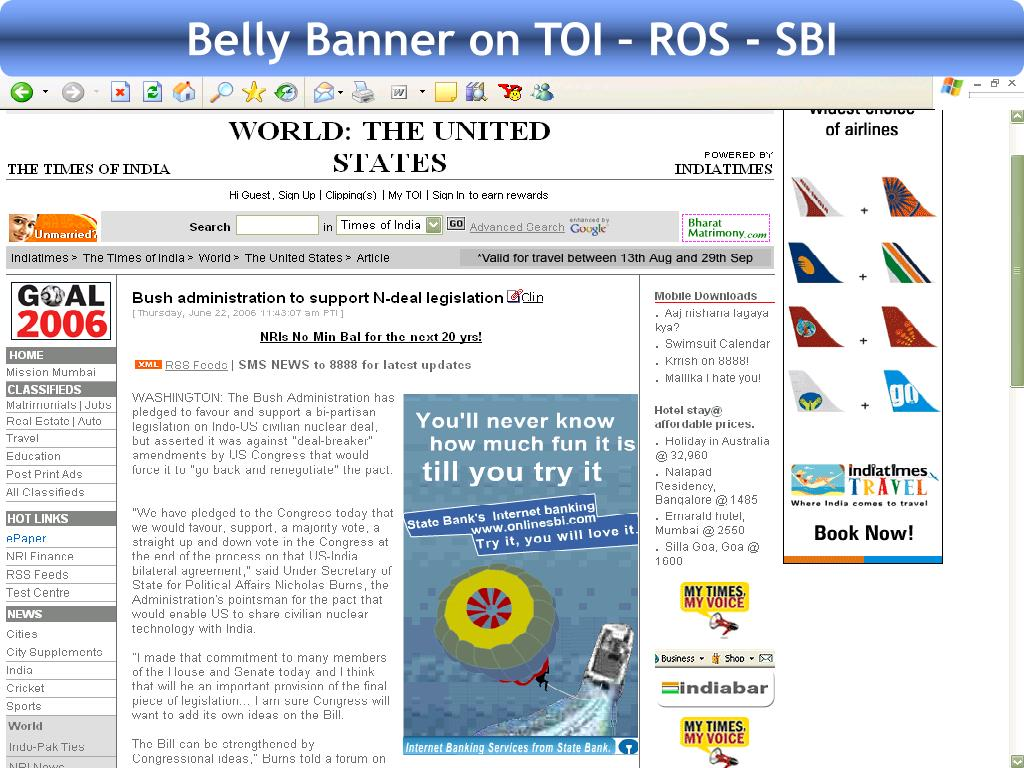 Belly Banner on TOI – ROS - SBI
