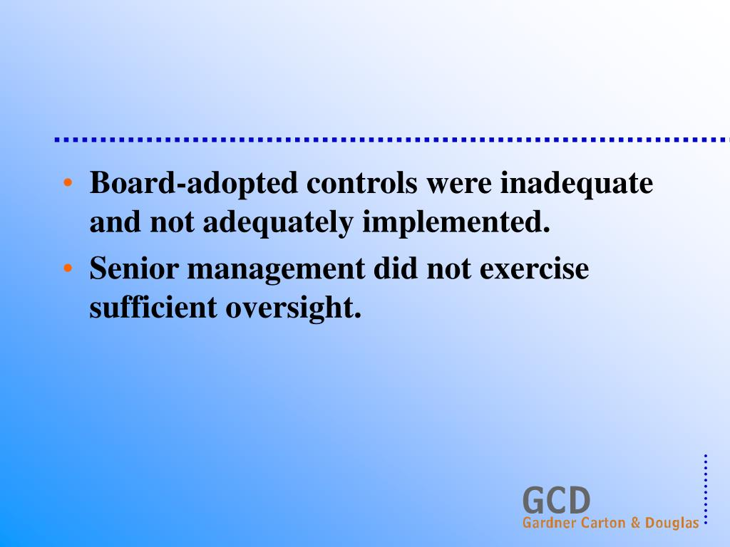 Board-adopted controls were inadequate and not adequately implemented.