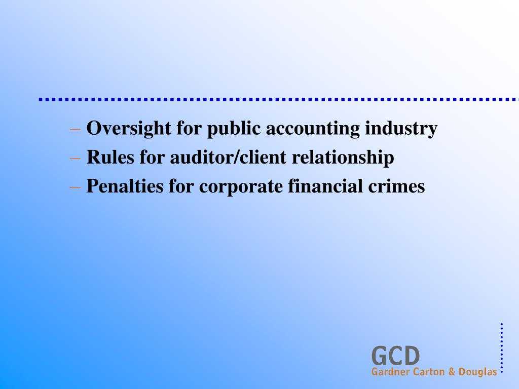 Oversight for public accounting industry
