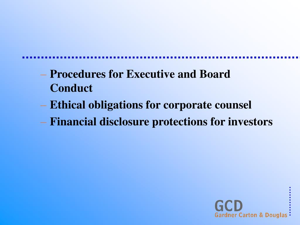 Procedures for Executive and Board Conduct