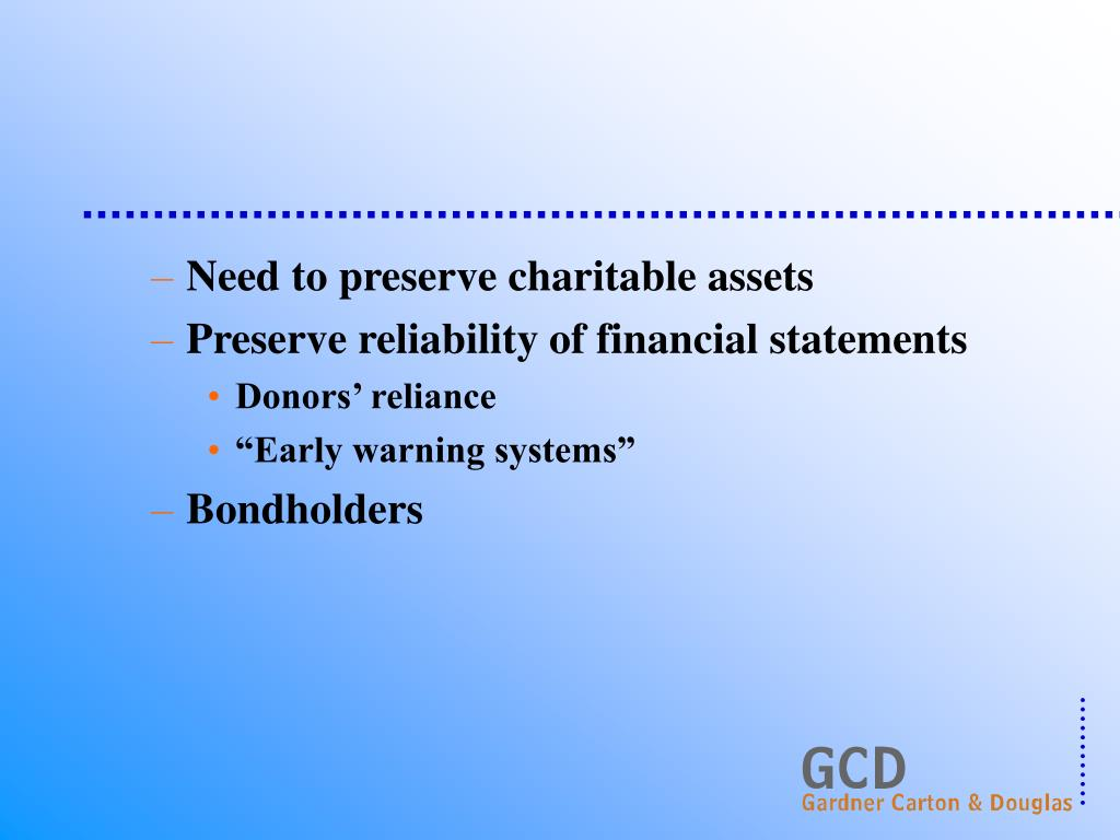 Need to preserve charitable assets