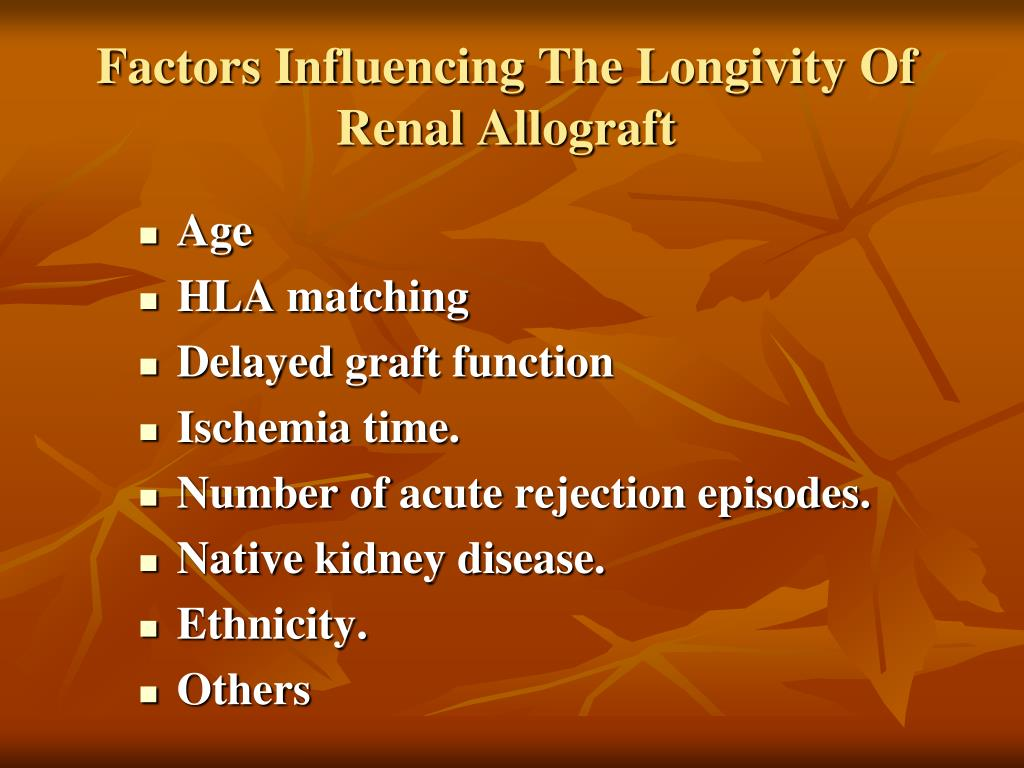 Factors Influencing The Longivity Of Renal Allograft