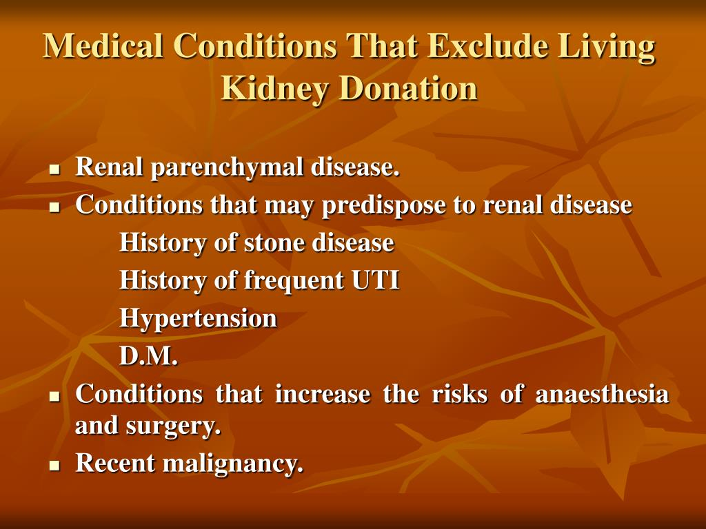 Medical Conditions That Exclude Living Kidney Donation