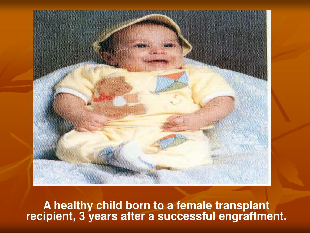 A healthy child born to a female transplant recipient, 3 years after a successful engraftment.