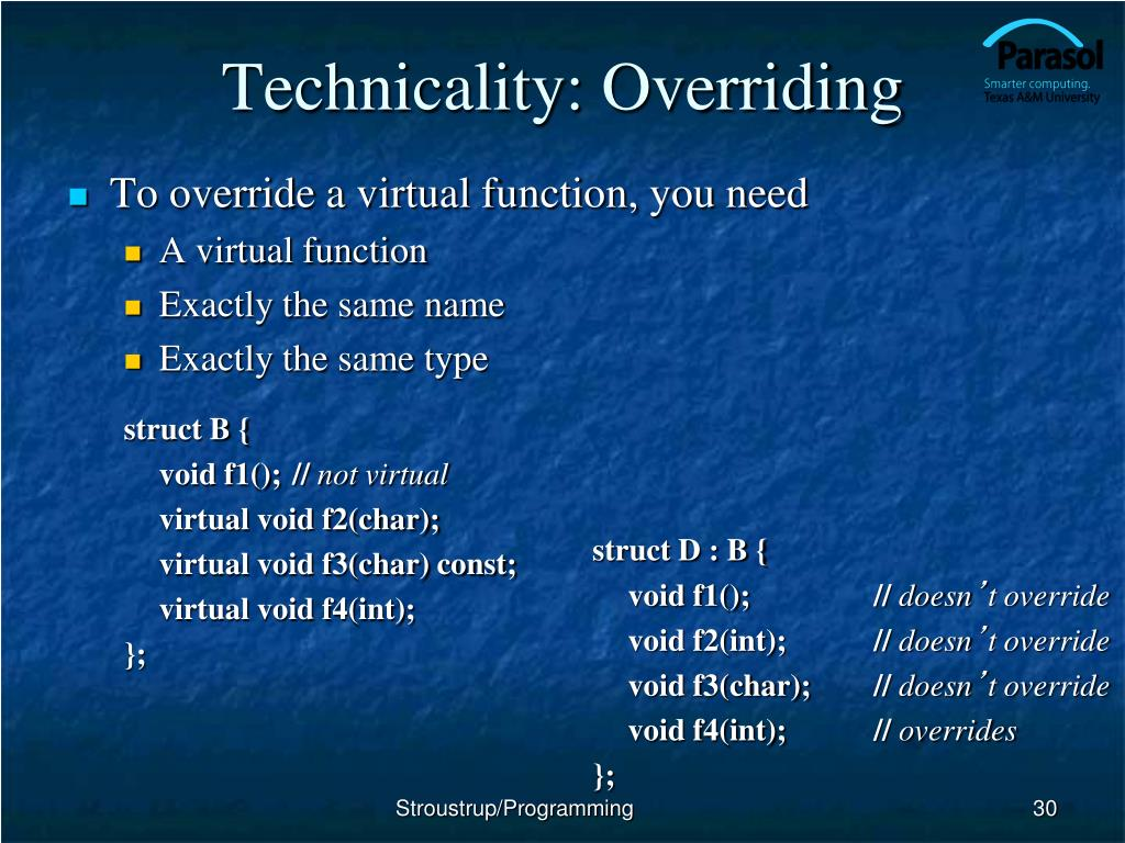 Technicality: Overriding