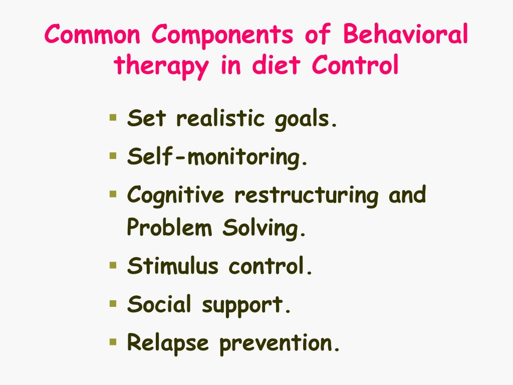 Common Components of Behavioral therapy in diet Control