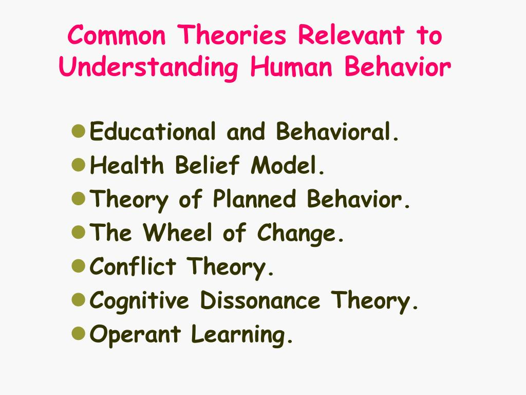 Common Theories Relevant to Understanding Human Behavior