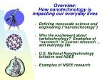 overview how nanotechnology is impacting our everyday lives