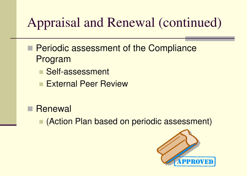 Appraisal and Renewal (continued)