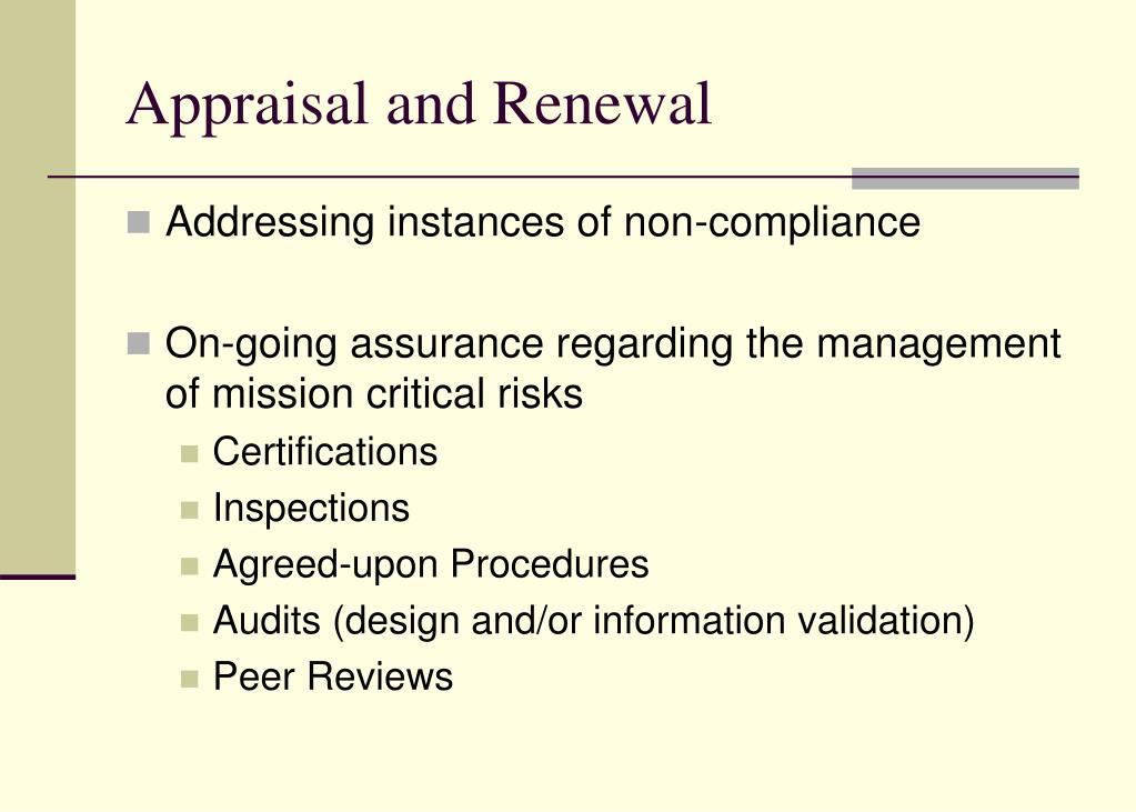 Appraisal and Renewal