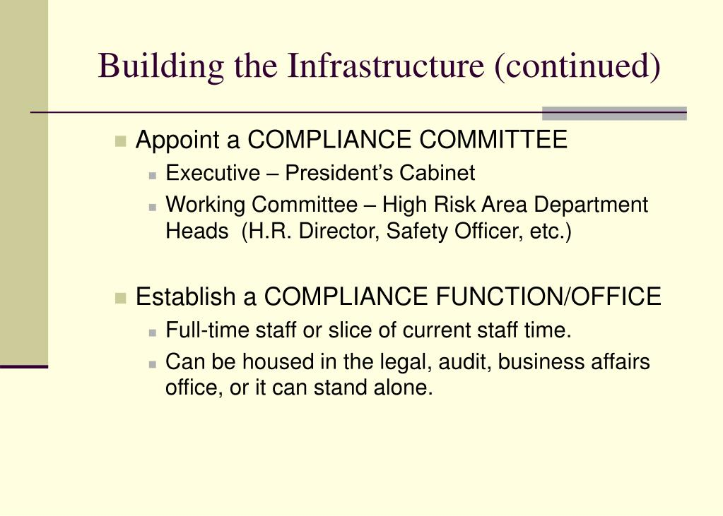 Building the Infrastructure (continued)