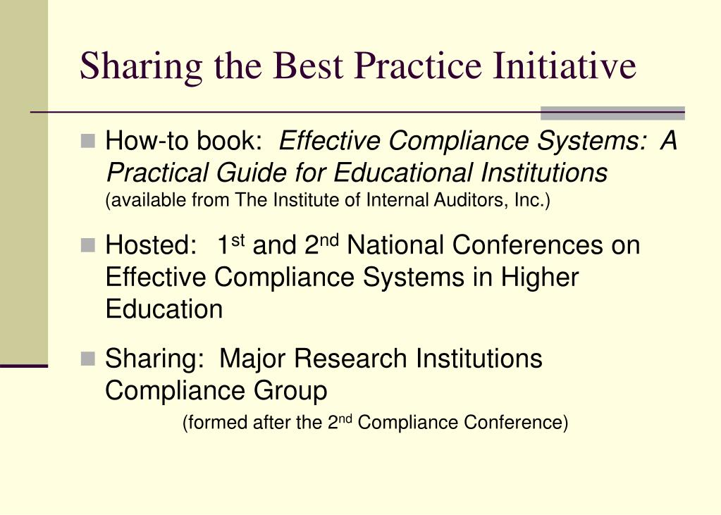 Sharing the Best Practice Initiative