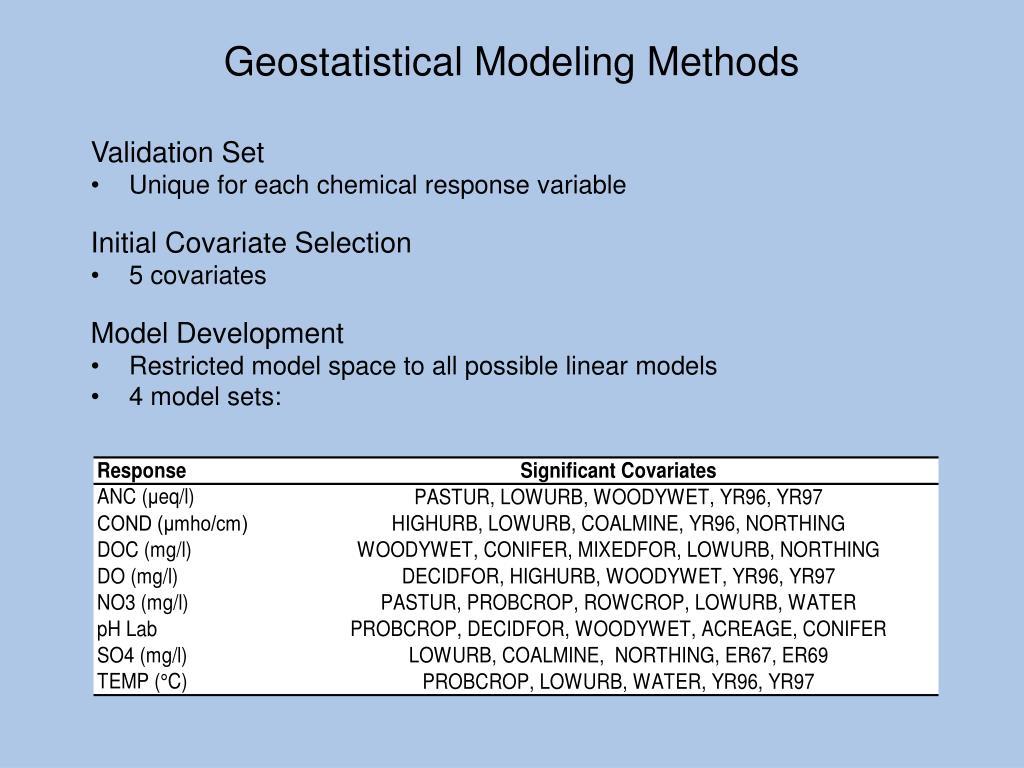 Geostatistical Modeling Methods