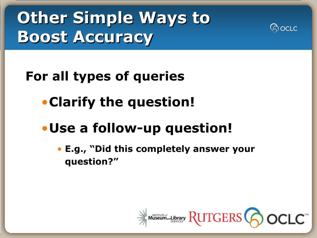 Other Simple Ways to Boost Accuracy