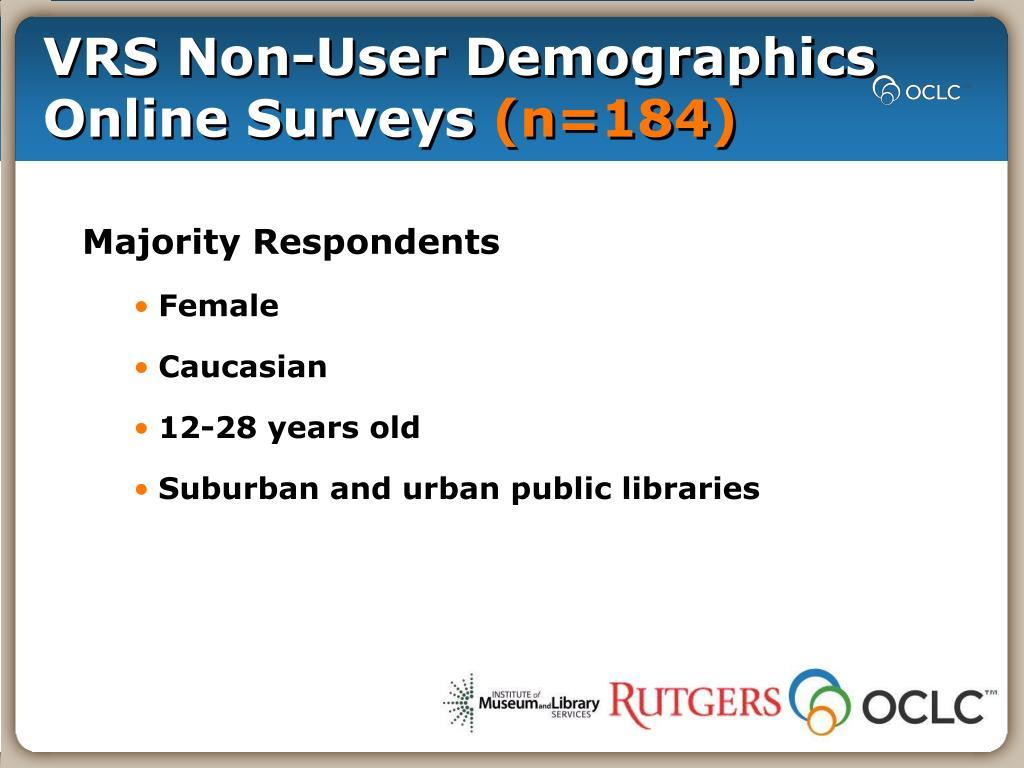 VRS Non-User Demographics Online Surveys