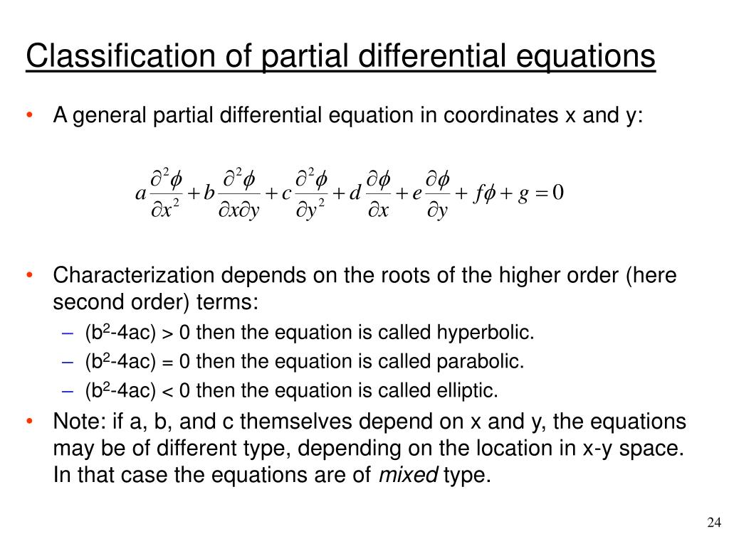 Classification of partial differential equations