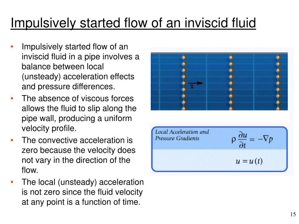 Impulsively started flow of an inviscid fluid in a pipe involves a balance between local (unsteady) acceleration effects and pressure differences.