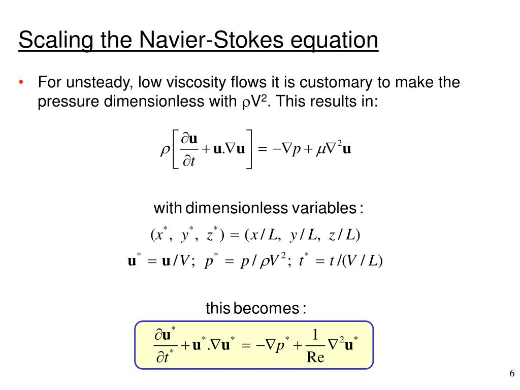 Scaling the Navier-Stokes equation