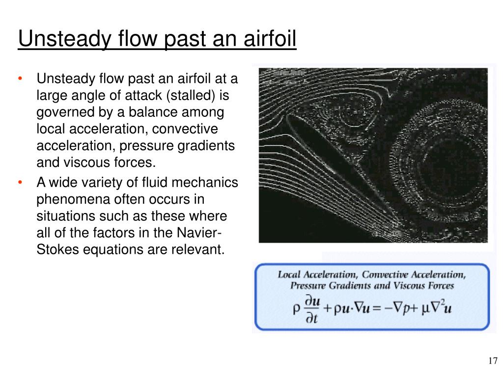 Unsteady flow past an airfoil at a large angle of attack (stalled) is governed by a balance among local acceleration, convective acceleration, pressure gradients and viscous forces.