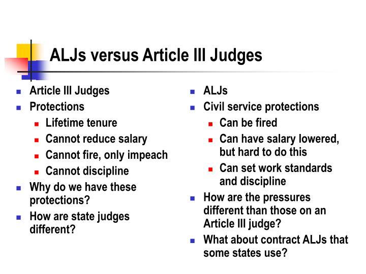 Aljs versus article iii judges