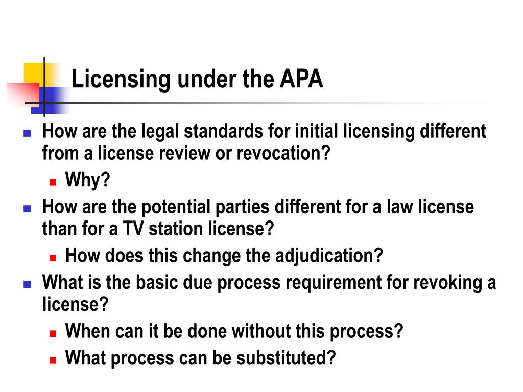 Licensing under the APA