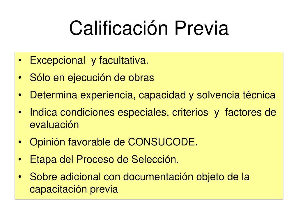 Calificación Previa