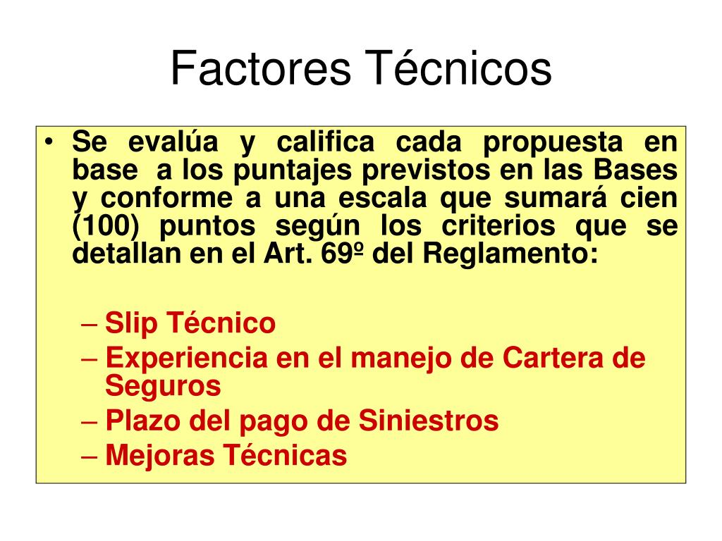 Factores Técnicos