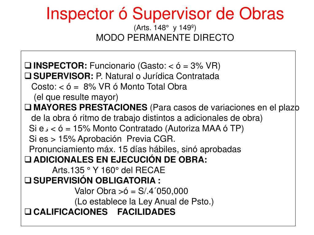 Inspector ó Supervisor de Obras