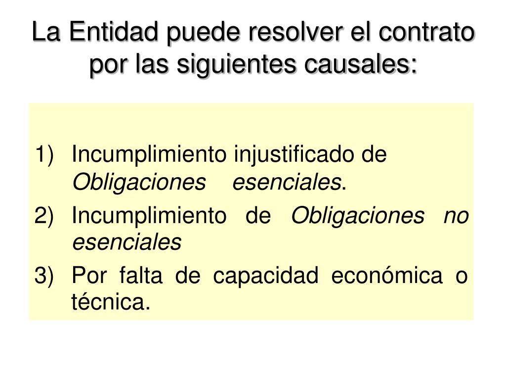La Entidad puede resolver el contrato por las siguientes causales: