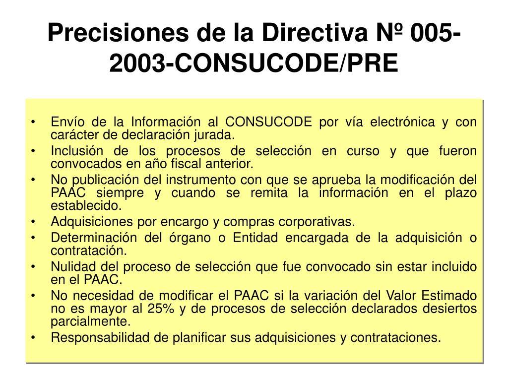 Precisiones de la Directiva Nº 005-2003-CONSUCODE/PRE
