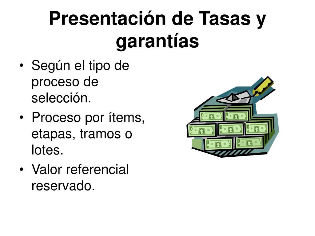 Presentación de Tasas y garantías