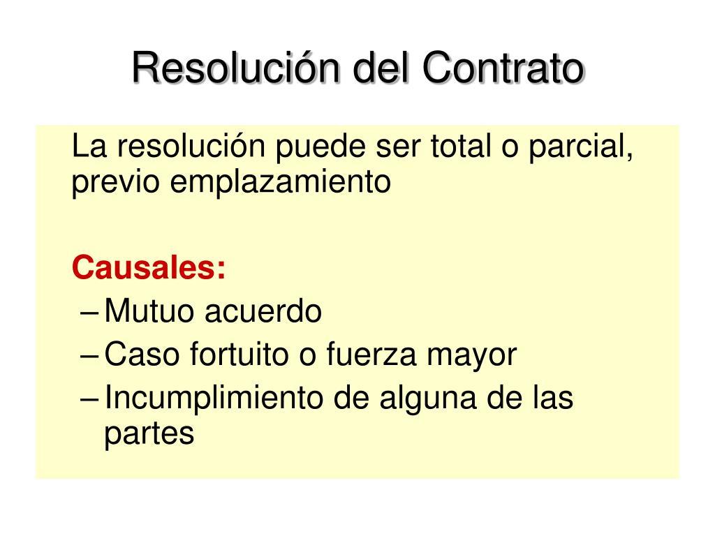 Resolución del Contrato