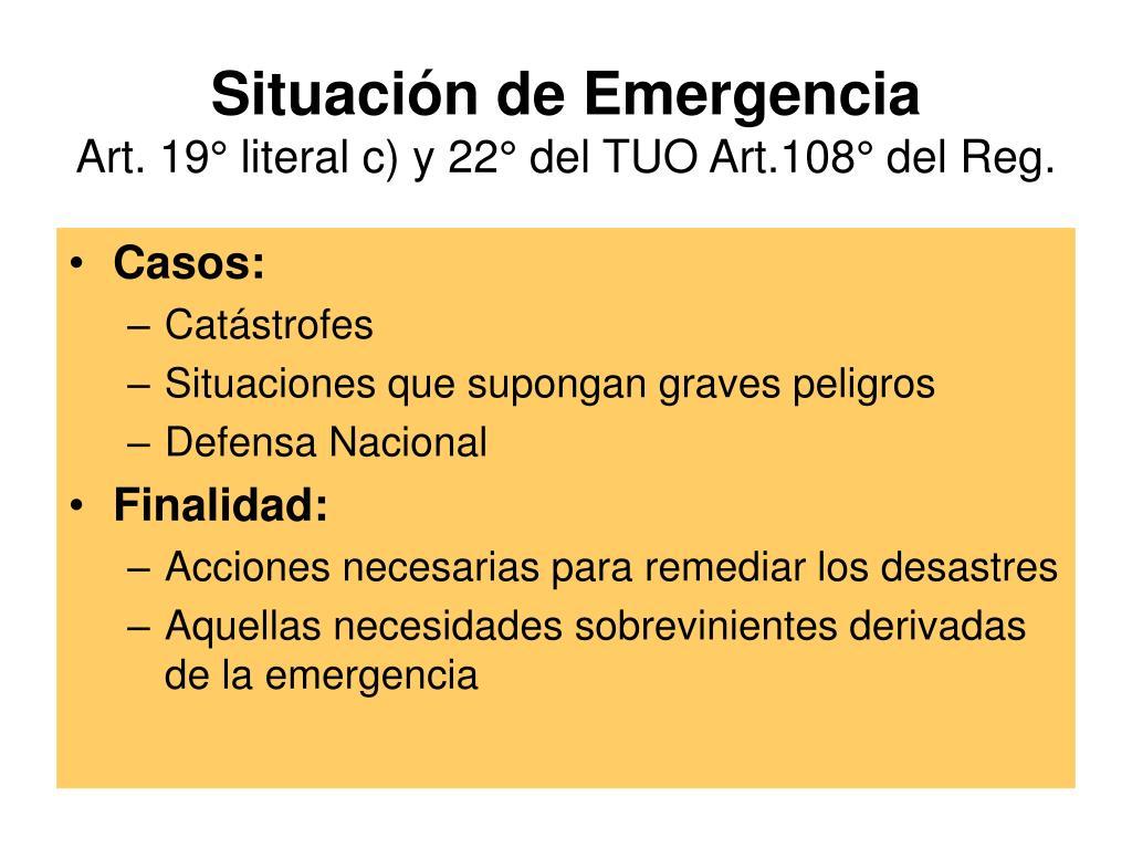 Situación de Emergencia