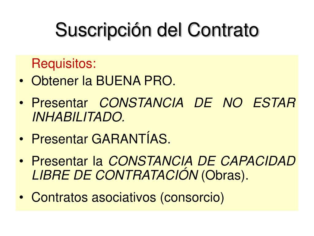 Suscripción del Contrato