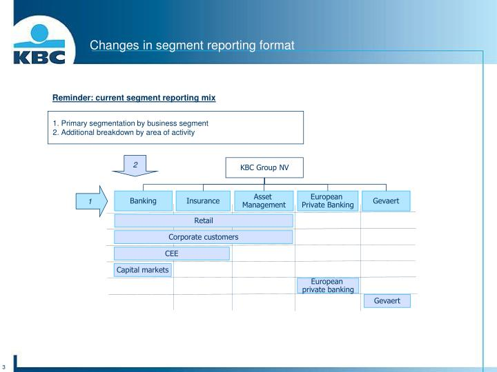 Changes in segment reporting format