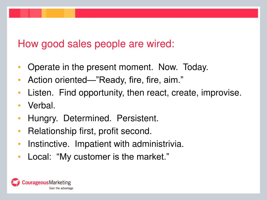 How good sales people are wired:
