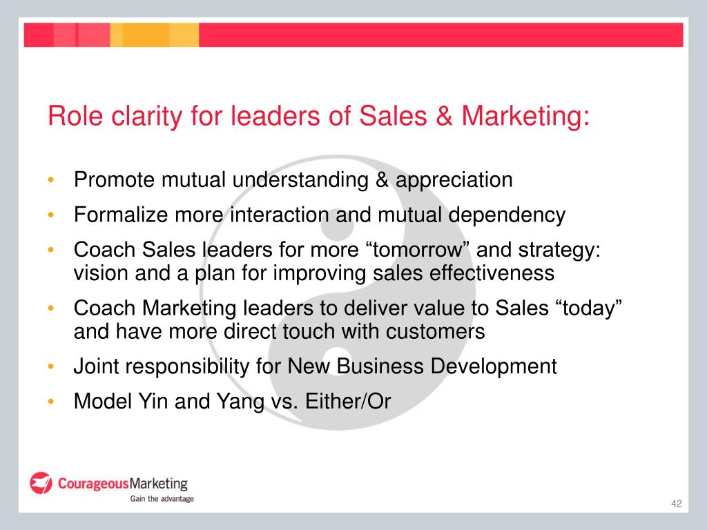 Role clarity for leaders of Sales & Marketing: