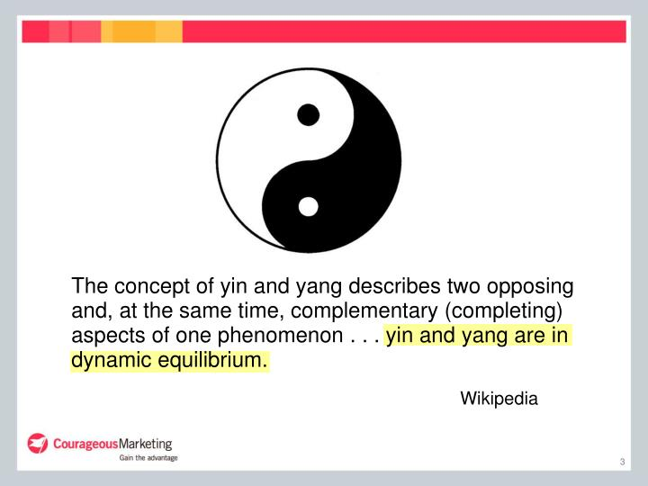 The concept of yin and yang describes two opposing and, at the same time, complementary (completing)...