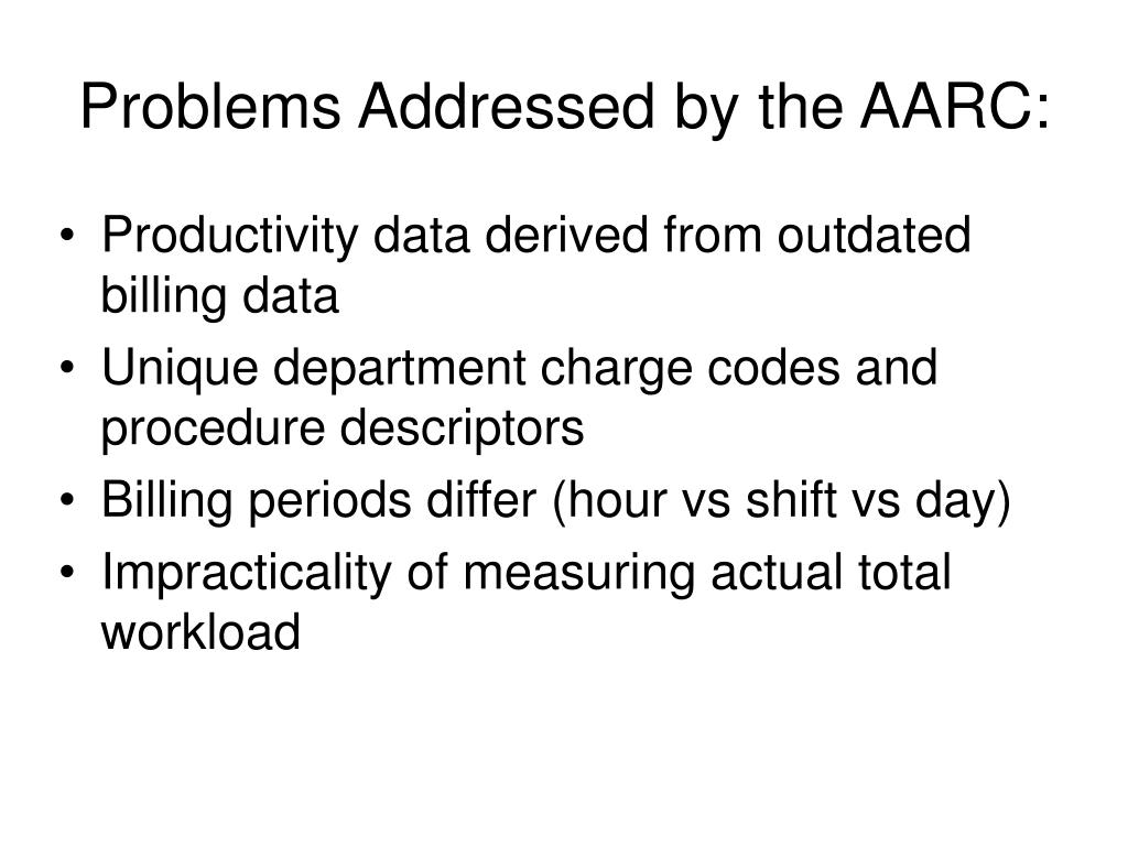 Problems Addressed by the AARC: